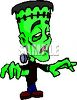 Kid Wearing a Frankenstein Costume for Halloween clipart