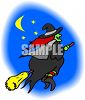Wtich Flying On Her Broom Across the Moon clipart