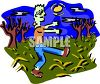 Zombie Walking Across a Field clipart