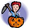 Boy Carving a Jack-o-Lantern clipart