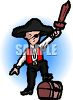 Halloween Costume-Boy Dressed as a Pirate clipart