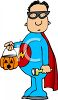 Child Wearing a Superhero Halloween Costume clipart
