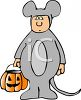 Child Wearing a Mouse Halloween Costume clipart
