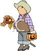 Child Wearing a Cowboy Halloween Costume clipart
