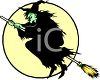 Evil Witch Riding Her Broomstick Across a Full Moon clipart