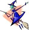 Cartoon of a Skinny Witch on Her Broom clipart