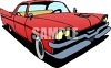 Classic Car: Fifties Style Car with Big Fins clipart