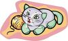 Stuffed Cat With Ball Of Yarn clipart