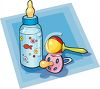 Baby Rattle With A Pacifier And Bottle clipart
