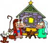 Cartoon Nativity Scene - Wise Men and Baby Jesus clipart