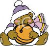 Bear Holding A Large Jingle Bell clipart