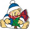 Bear Holding A Christmas Tree clipart