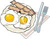 A Plate Of Fried Eggs And Bacon clipart