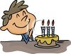 Boy Making A Wish On His Birthday Cake clipart