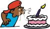 Boy Blowing Out Candle On His Birthday Cake clipart