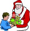 Santa Claus Giving A Teddy Bear To A Boy clipart