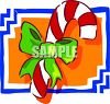 Candy Cane With A Bow Tied Around It clipart