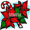 Candy Cane With Poinsettia Flowers clipart