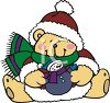 Christmas Bear Holding Toy Snowman clipart