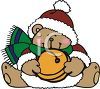 Christmas Bear Holding Jingle Bell clipart