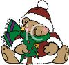 Christmas Bear Holding Tree clipart