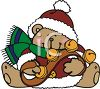 Christmas Bear Holding String Of Sleigh Bells clipart