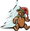 Teddy Bear In Front Of Christmas Tree clipart