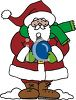 Santa Claus Holding A Christmas Ornament clipart