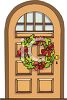 A Christmas Wreath Hanging On A Door clipart