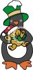 A Christmas Penguin Holding A Teddy Bear clipart