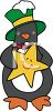 Christmas Penguin Holding A Star clipart