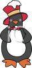 Christmas Penguin Wearing A Top Hat And Bow Tie clipart