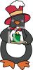 Christmas Penguin Holding Candle clipart