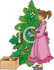 Girl Decorating Christmas Tree clipart