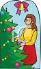 Girl Decorating Tree For Christmas clipart