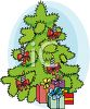 Christmas Tree With Presents Underneath clipart
