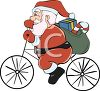 Santa Riding A Bicycle With His Sack Of Presents clipart