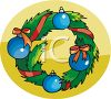 Christmas Wreath Decorated With Ornaments And Ribbons clipart