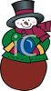 Snowman Holding Christmas Ornament clipart