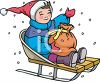Boy Riding In Sled With Sack Of Christmas Presents clipart
