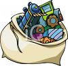 Sack Of Toys For Christmas clipart