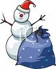 Snowman With A Sack Of Christmas Presents clipart