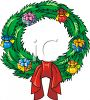Christmas Wreath Decorated With Presents And Ribbon clipart