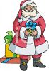 Santa Claus Holding A Christmas Gift clipart