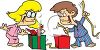 Children Opening Christmas Presents clipart
