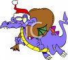 Dragon Carrying Sack Of Presents clipart