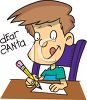Boy Writing Letter To Santa  clipart