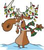 Moose With Christmas Lights On Its Antlers clipart