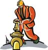 An Oil Rig Worker Turning A Valve On A Large Pipe clipart