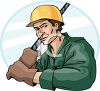 A Construction Worker Pulling A Cable clipart